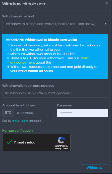 coinpot bitcoin withdraw to wallet 1